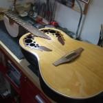 Ovation Elite 1758 12弦モデル ブリッジ一体型サドル作成&エポーレット補修 ナット作成交換
